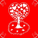 Valentines Day background with tree and hearts Royalty Free Stock Images