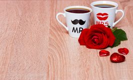 Valentines Day background with two coffee cups Stock Image