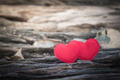 Valentines Day background with two hearts Stock Photos