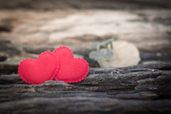 Valentines Day background with two hearts Stock Images