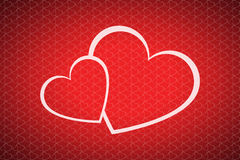 Valentines day background with two hearts Royalty Free Stock Image