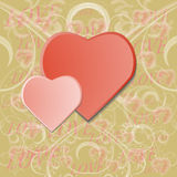 Valentines day background with two hearts Stock Image