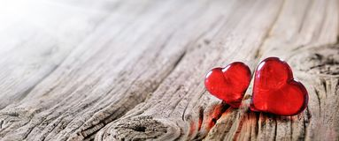 Valentines Day Background Two Red Hearts stock photography