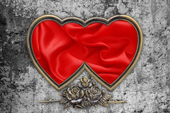 Valentines Day Background, Valentine Heart Red Silk Fabric. On the cement wall Stock Image