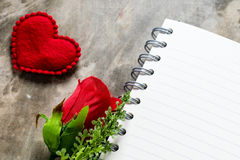 Valentines day background. Valentine hearts with open blank note Royalty Free Stock Image