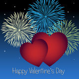 Valentines day background. Background for Valentines day with two red hearts and fireworks on a blue sky. EPS file available Royalty Free Stock Photos