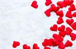 Valentines day background. With red hearts on white background stock images