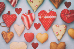 Valentines day background. Various of wooden and fabric hearts royalty free stock image