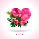 Valentines day background.Vector illustration. Pink origami heart with natural elements- flowers and leaves. Abstract polygonal heart. Love symbol. Lights and Royalty Free Stock Images