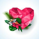 Valentines day background. Vector illustration. Pink origami heart with natural elements- flowers and leaves. Abstract polygonal heart. Love symbol. Lights and Royalty Free Stock Image