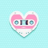 Valentines Day Background With Vintage Audio Cassette As Heart Stock Images
