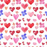 Valentines day background with watercolor hearts, lips and flowers. Festive colorful hand drawn seamless pattern in red and pink vector illustration