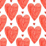Valentines day background. Watercolor red hearts seamless pattern. Painted romantic backdrop Royalty Free Stock Images