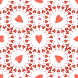 Valentines day background. Watercolor red hearts seamless pattern. Romantic backdrop Stock Image