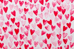 Abstract watercolor red, pink heart background. Concept love, valentine day greeting card stock photography