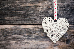 Valentines day background with white heart. Copy space, toned. Stock Image