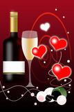 Valentines Day Background and Wine Bottle Royalty Free Stock Images