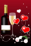 Valentines Day Background and Wine Bottle Royalty Free Stock Image
