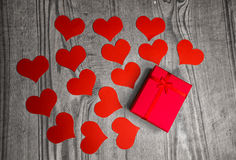 Free Valentines Day Background With Handmaded Paper Hearts And Gift O Royalty Free Stock Photos - 65989988