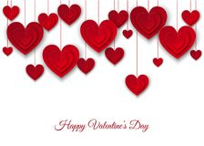Valentines Day Background With Hanging Red Cut Paper Hearts. Stock Photography