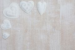 Valentines day background. Valentines day wooden background with hearts Royalty Free Stock Photos