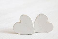 Valentines day background. Wooden hearts Royalty Free Stock Images