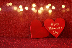 Valentines day background. Wooden red hearts Stock Photos
