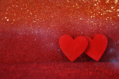 Valentines day background. Wooden red hearts Royalty Free Stock Photos