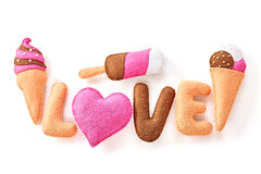 Valentines Day background. Word Love, Heart, Ice Cream Couple Handmade Stock Photo