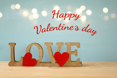 Valentines day background. Word LOVE from wooden letters Stock Images