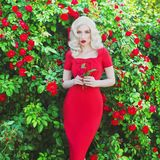 Valentines Day background. Young slim retro girl with red lips in stylish dress in beautiful summer roses garden. stock photo
