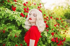Valentines Day background. Young stunning girl with red lips in stylish dress in beautiful summer roses garden. royalty free stock image