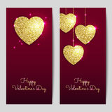 Valentines day backgrounds with gold hearts. Shining glitter textured valentines. Royalty Free Stock Photo