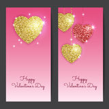 Valentines day backgrounds with gold and red hearts. Stock Image
