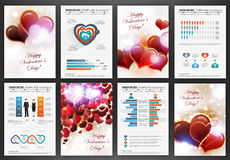 Valentines day backgrounds with infographics set Stock Images