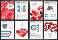 Valentines day backgrounds with infographics Royalty Free Stock Photo