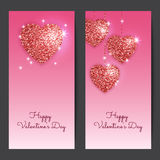 Valentines day backgrounds with red hearts. Shining glitter textured valentines. Royalty Free Stock Photography