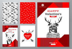 Valentines Day backgrounds set Royalty Free Stock Photo