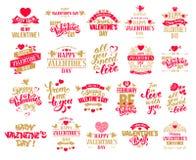 Valentines Day badges set Royalty Free Stock Photos