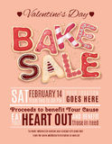 Valentines Day Bake Sale flyer template. Hand drawn decorated cookies that say Bake Sale for a Valentine's Day promotion on a flyer, brochure, poster template royalty free illustration