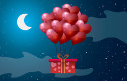 Valentines Day. Balloons of hearts on a background of the moon. Vector illustration. Valentines Day. Balloons of hearts on a background of the moon Stock Image