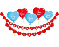 Valentines day, balloons hearts and garland. Valentines day greeting card, balloons hearts with lettering - I Love You, garland with greeting inscription, Happy Royalty Free Stock Images