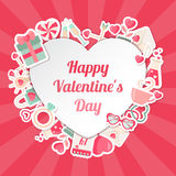 Valentines Day Banner with Flat Icons and Heart Shape Frame Royalty Free Stock Photography