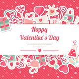 Valentines Day Banner With Flat Icons Stickers on Pink Background Stock Images