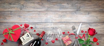 Valentines Day Banner - Glasses Bottle And Gift stock images