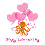 Valentines day banner with octopus Royalty Free Stock Photo