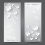 Valentines day banner with paper hearts. Vector Royalty Free Stock Image