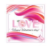 Valentines day. Banner with pink red abstract background and pink rose Royalty Free Stock Photos