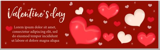 Valentines Day banner with realistic 3D heart. Template for your design with space for text. Vector illustration. Valentines Day banner with realistic 3D heart Royalty Free Stock Image