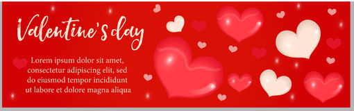 Valentines Day banner with realistic 3D heart. Template for your design with space for text. Stock Images